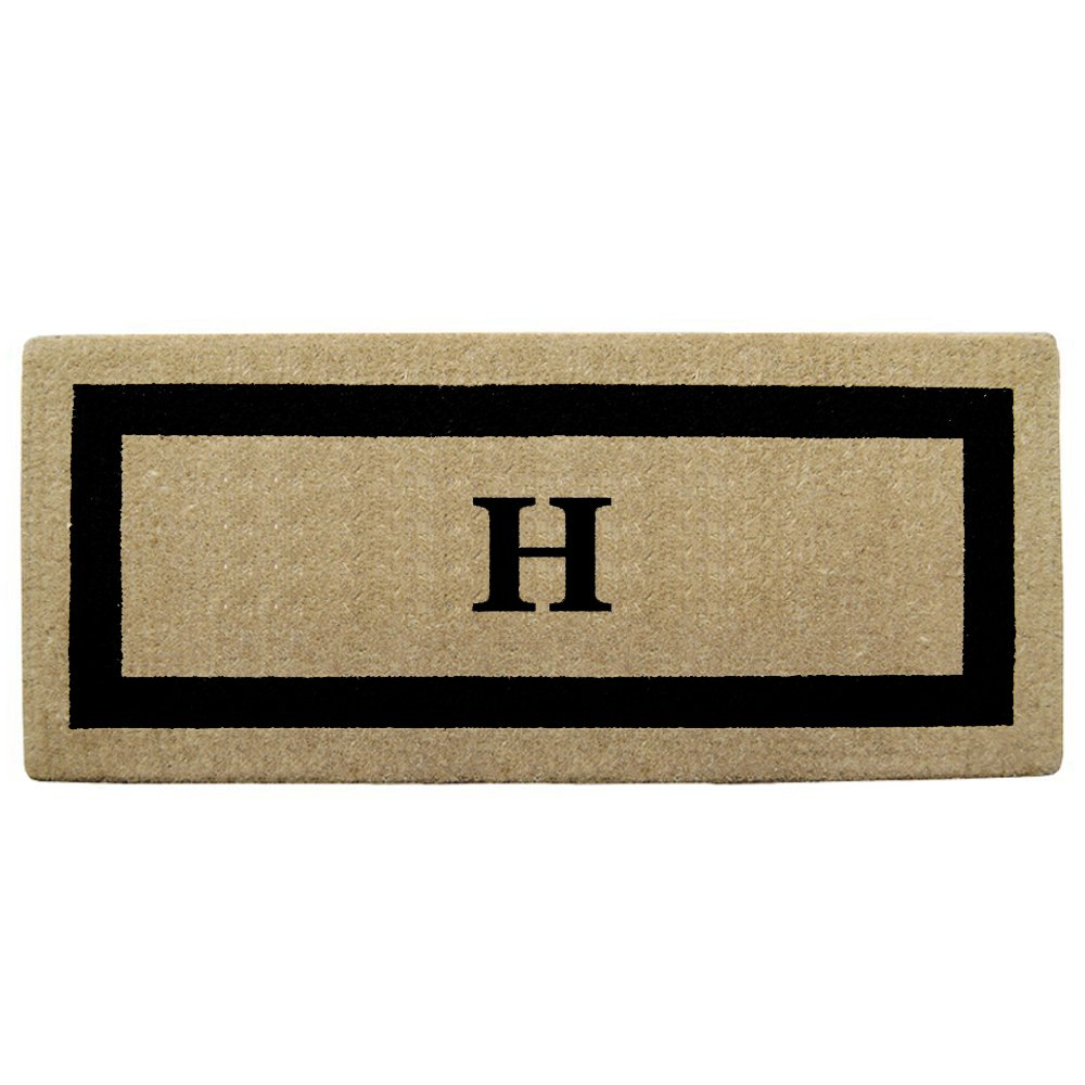 Nedia Home Single Picture Black Frame Heavy Duty Coir Doormat, 24 by 57-Inch, Monogrammed H