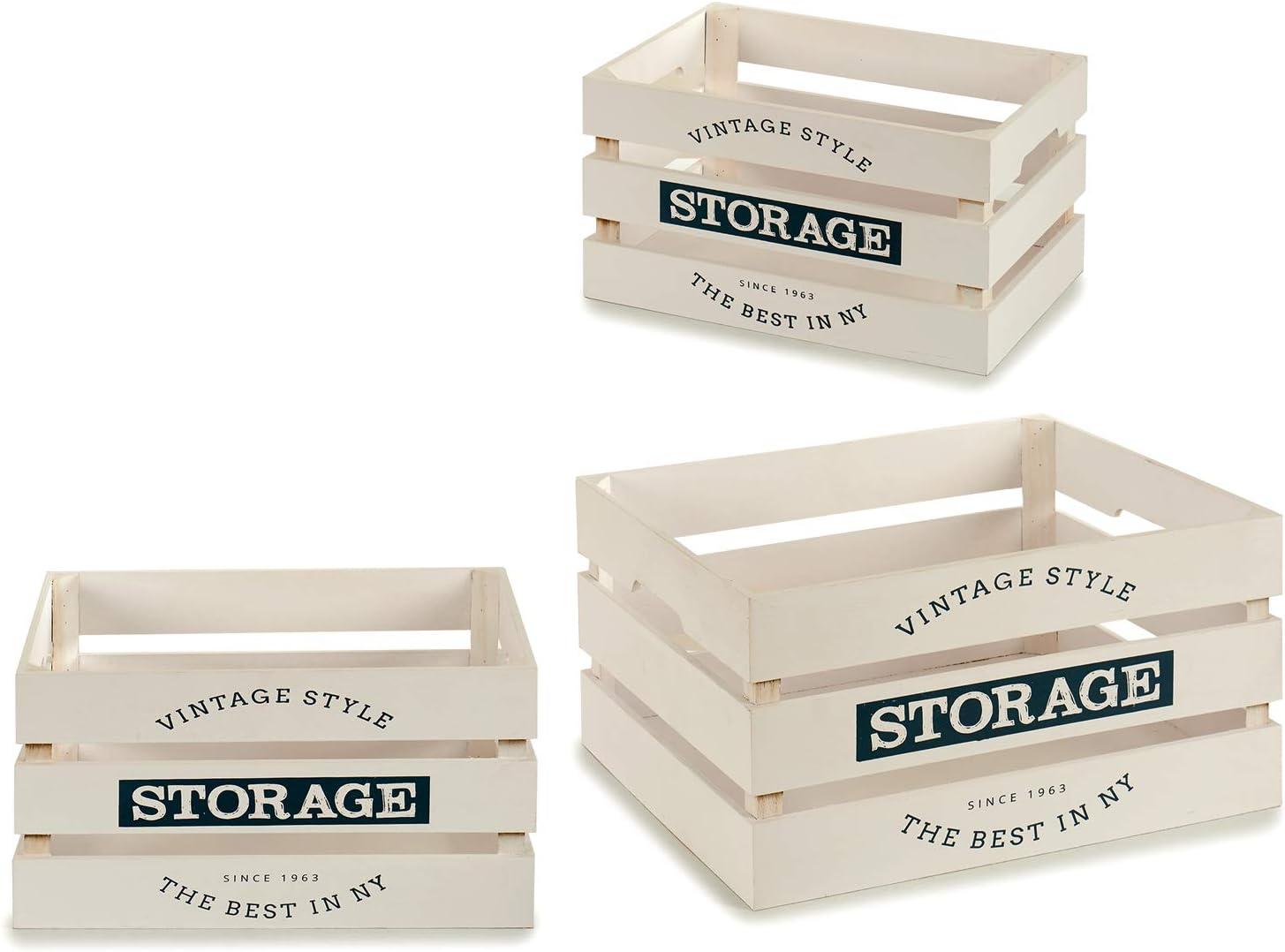 TU TENDENCIA ÚNICA Juego de 3 Cajas de Madera Vintage Modelo Storage. Tres Tamaños Diferentes. Ideal como Decoración (Madera Blanca): Amazon.es: Hogar
