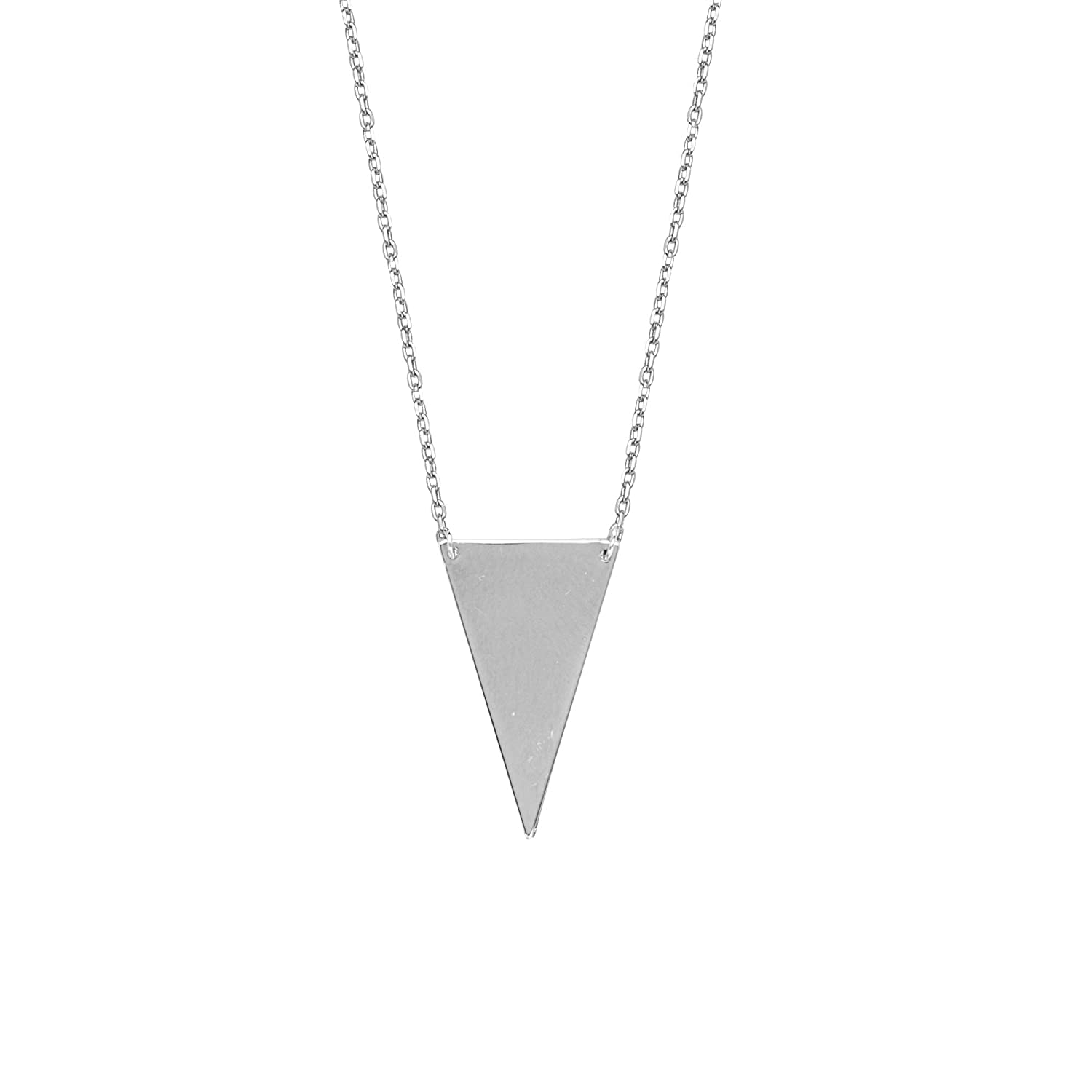 Adj.Down Triangle Necklace D//C Cable DiamondJewelryNY Silver Pendant