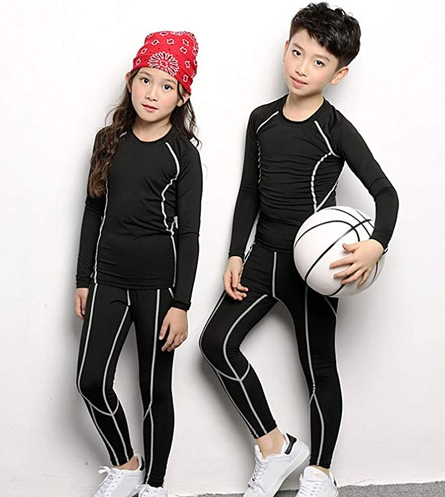 4pcs 2 Packs Boys Compression Undearwear Sets Dry Fit Baselayer Top /& Bottom Long Sleeve Tights