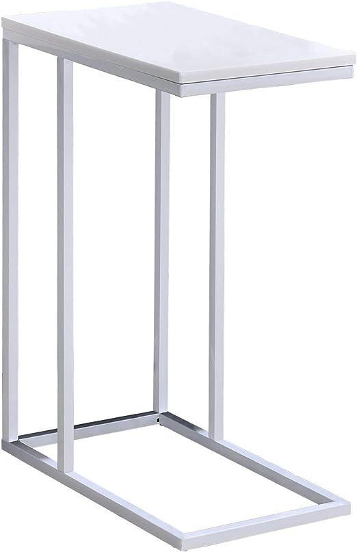 IDIMEX Beistelltisch Debora Wohnzimmertisch Couchtisch rechteckig, Metallgestell und Tischplatte in weiß, im Retro Stil