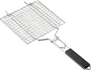 SKYHY224 Grilling Basket 54cm32cm Basket Mesh Grid Foldable Detachable Cooking Outdoor Barbecue Garden Wooden Handle Rack