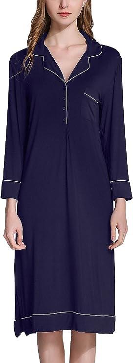 M/&s Modal Coton Nuisette Chemise de nuit femme motif fleuri gris à manches longues Tailles 8-22