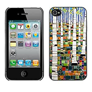 TopCaseStore / la caja del caucho duro de la cubierta de protección de la piel - Forest Painting Abstract Birch - Apple iPhone 4 / 4S