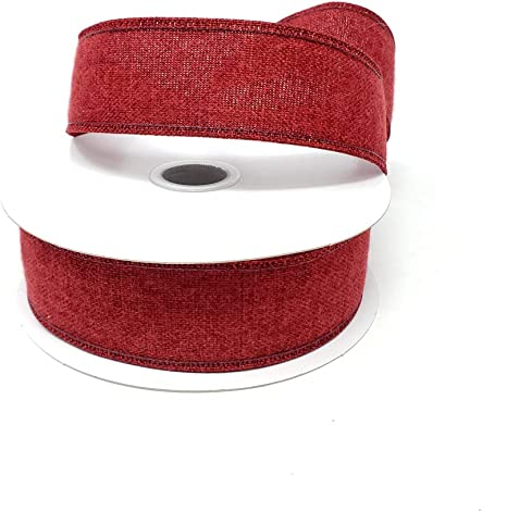 10 Yards Christmas Soft Brushed Linen Wired Ribbon