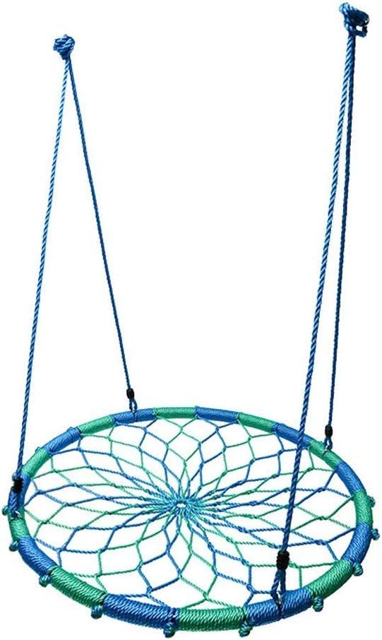 NZBⓇ Swing Home Child Round Swing Interior Adulto Deportes Malla Hamaca Cuerda Ajustable Juguete al Aire Libre Malla Cuerda Tejido Marco de Acero Jardín Columpio 700lbs
