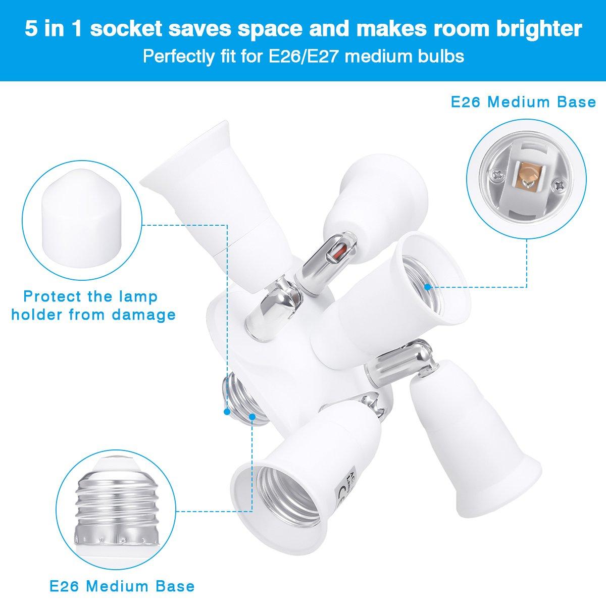 5 in 1 Light Socket Adapter KINGSO E26/E27 Splitter for Standard LED Bulbs Converter with 360 Degrees Adjustable 180 Degree Bending 110-240V 200℃ Heat Resistant No Fire Hazard by KINGSO (Image #4)