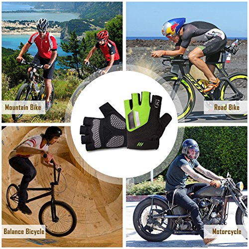 GSG Half Finger Gym Gloves Biking Cycling Powerlifting Weight Training Fingerless Gloves Men Fitness Workout Gifts Fluorescent Green S