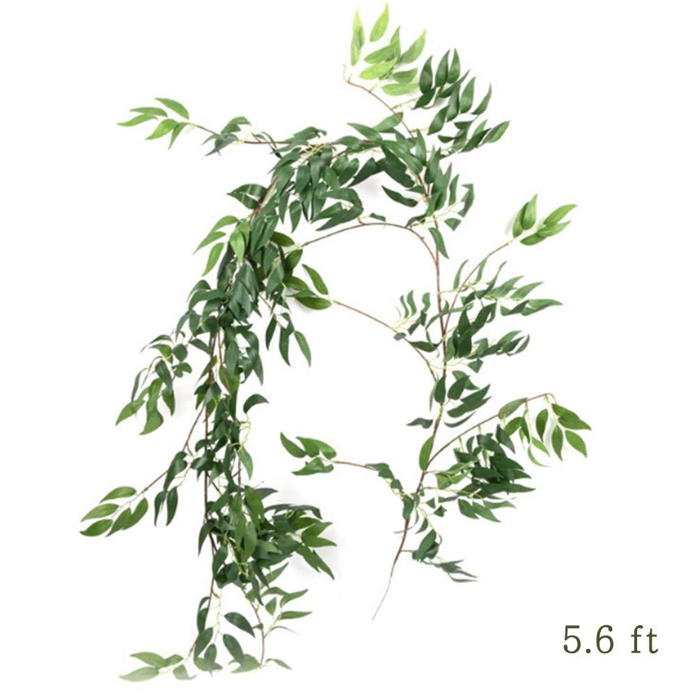 造花 つるつるつるつる 造花 人工シルク 柳 植物 葉 吊り下げ ガーランド ひも 枝 屋内/屋外 ホームウェディング装飾 ジャングルパーティー用品 グリーン WQ019032902 B07Q6K3VXJ Silk Willow-2