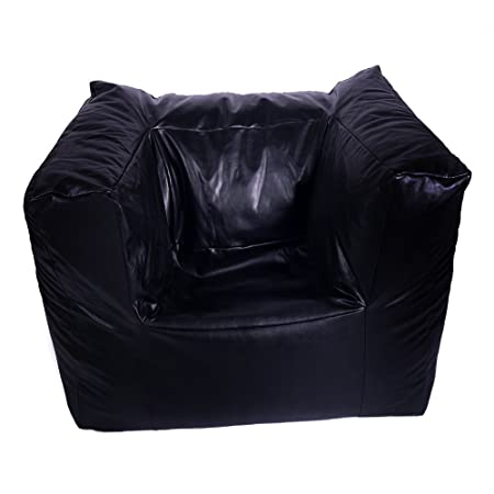 Swell Faux Leather Black Modular Beanbag Gaming Arm Chair Seat Bean Bag Cover Only Andrewgaddart Wooden Chair Designs For Living Room Andrewgaddartcom
