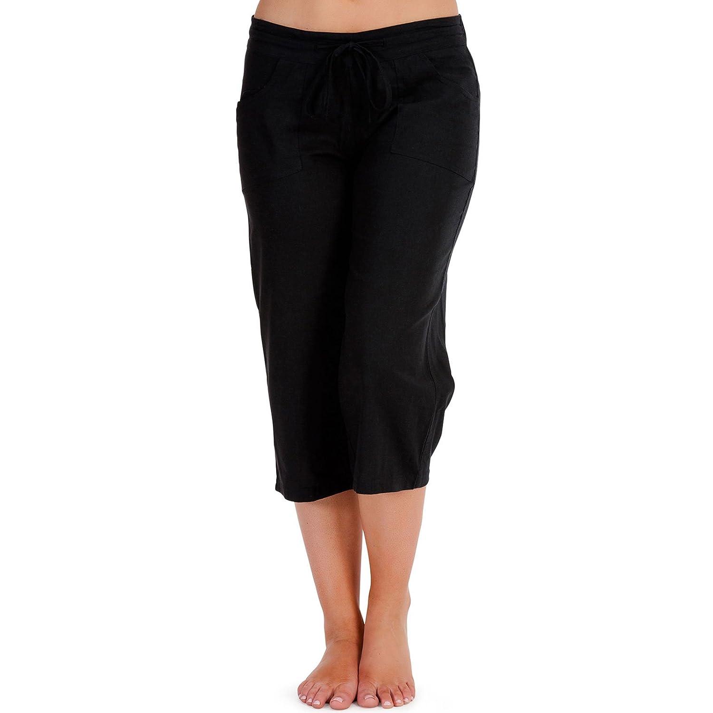 b2ffb469b0f83 Ladies Soft Linen 3 4 Trouser Pull On Drawstring Casual Summer Black Size  10  Amazon.co.uk  Clothing