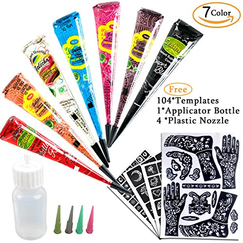 7Color Temporary Tattoo India Henna Kit Tattoo Paste Cone Body Art Painting Drawing with Free 104 pcs Tattoo Templates, 1 x Applicator Bottle and 4 x Plastic Nozzle by YLIANG - Professional Henna