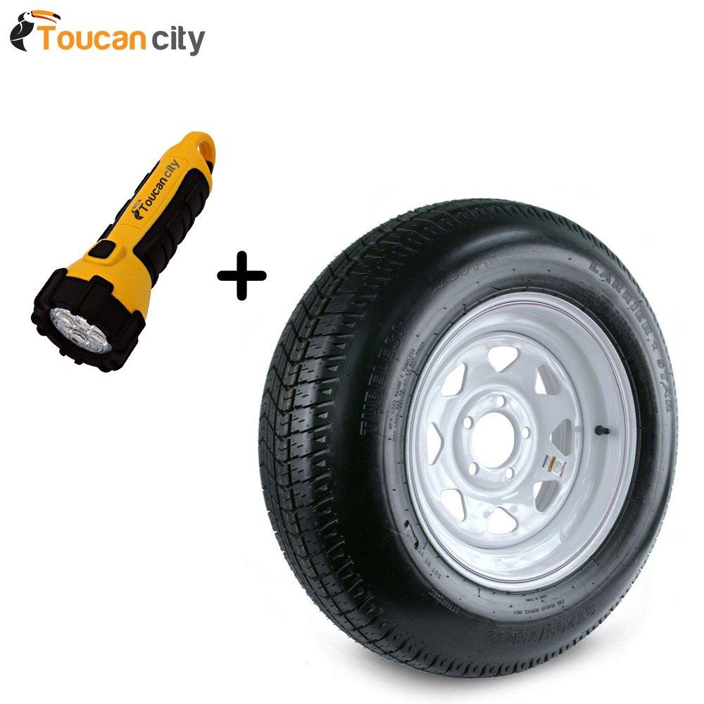 Kenda 205/75D-15 Load Range C 5-Hole Custom Spoke Trailer Tire and Wheel Assembly DM205D5C-5CT and Toucan City LED flashlight