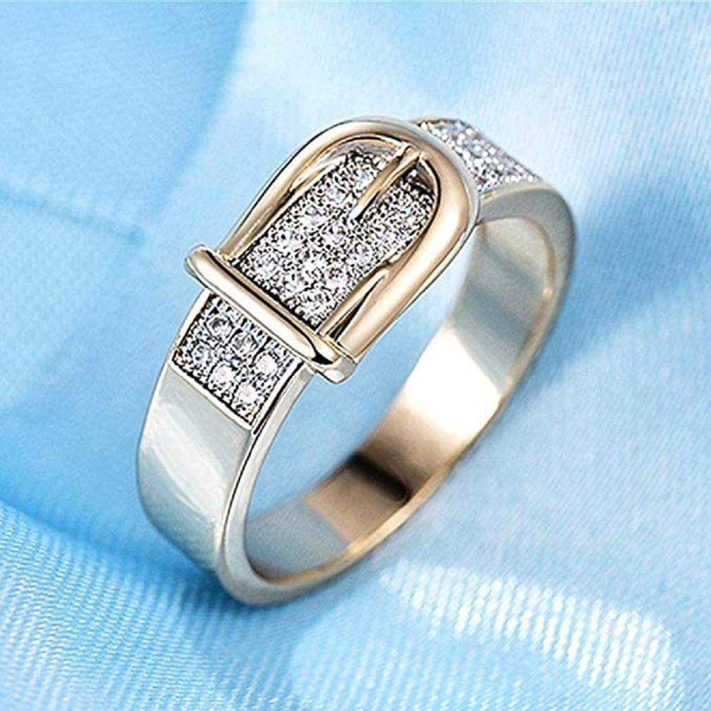 Joyas De Cristal De Circonita Scpink Anillo De Oro En Forma De Cintur/ón Creativo De Moda para Mujer