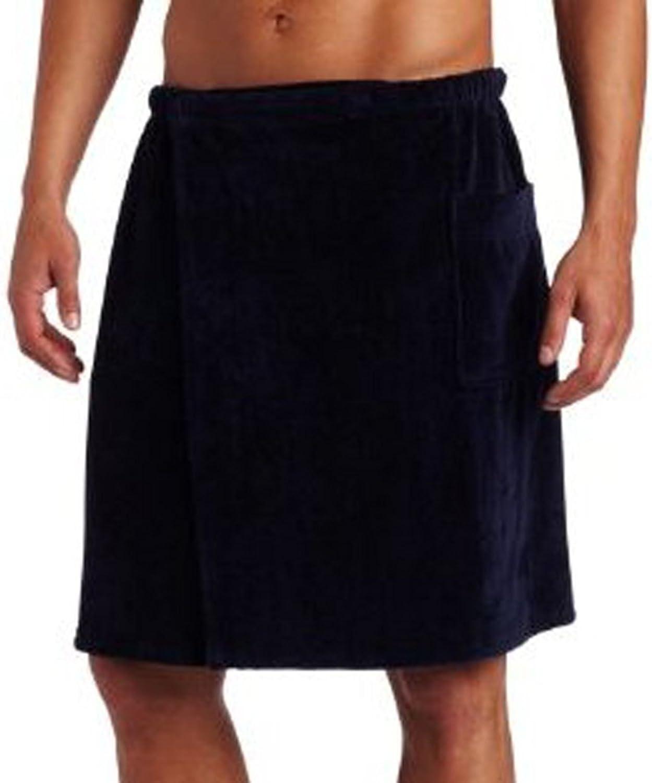 Amazon.com: Pure Cotton Terry Cotton Bath Spa Men's Wrap Towels, One Size,  Navy Blue Color: Home & Kitchen