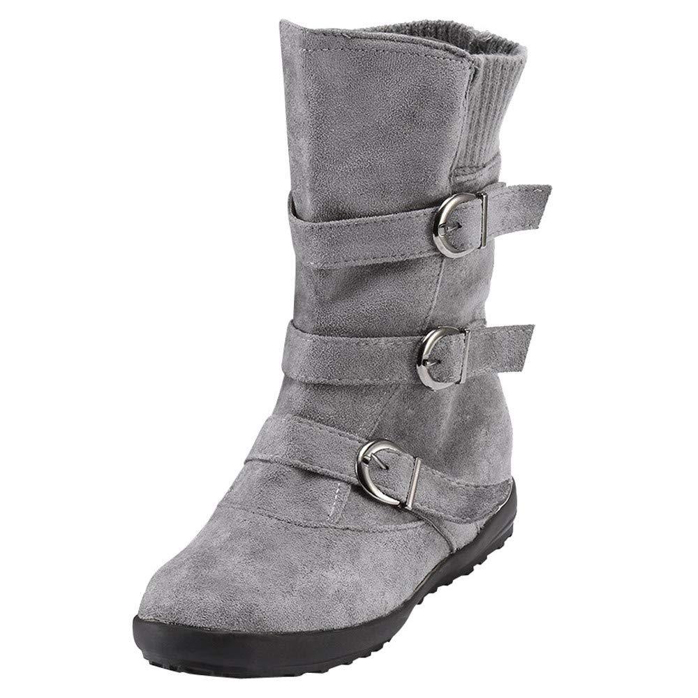 Zapatos Invierno, Botas Altas de Rodilla Mujer Bota de tacón Plano Zapatos de otoño Invierno Casual Outdoor Aire Libre Martin Botines Casual Planas Zapatos QINGXIA_ZI