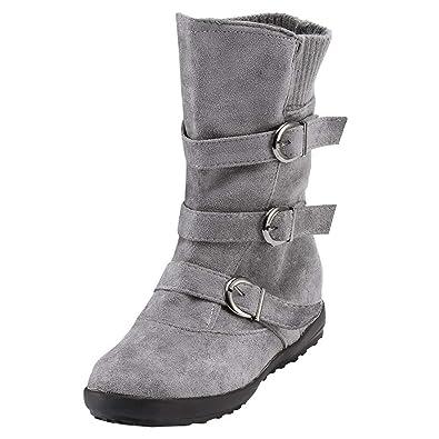 Sonnena Femmes Bottes Chaussures Femmes, Bottes de Neige Chaussures Bottes  Tube Moyen Chaudes Daim Lacer ce50492af764
