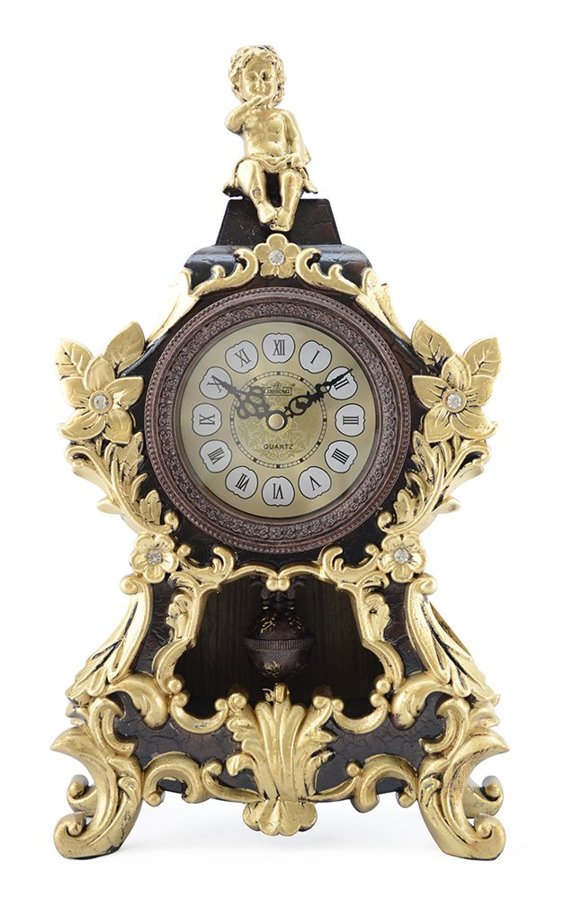 Antique Linseng Polyresin Mantel Table Clock With Swinging Pendullum and Angel
