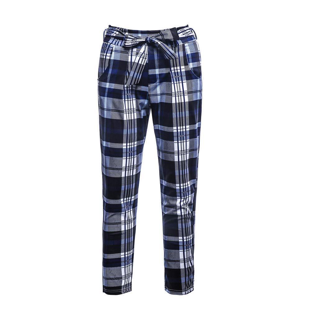 Women Casual Plaid Pants, Workout High Waist Leggings Lace Up Fitness Slim Pencil Pants Harem Pants Long Baggy Sports Blue