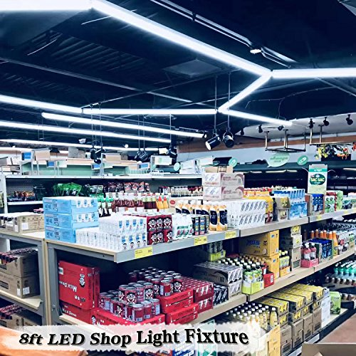 8FT LED Shop Light Fixture - 72W 7200LM, 6000K Cool White, Dual Row V Shape, T8 Integrated Tube Strip Cooler Lights, Clear Cover, Linkable, High Output Bulbs for Garage, Workshop, AC100-305V (12Pack) by YKUNLED (Image #6)