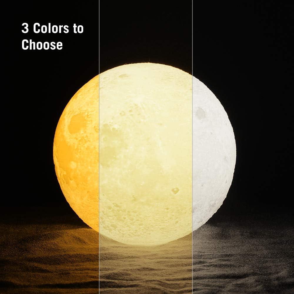 Helligkeit dimmbar /& per USB ladbar S Nachttischlampe Nachtlicht mit 3 Farbmodi Warm TaoTronics Mond Lampe 3D-gedruckte Mondlicht Touch-Steuerung Warmwei/ß /& K/ühlwei/ß