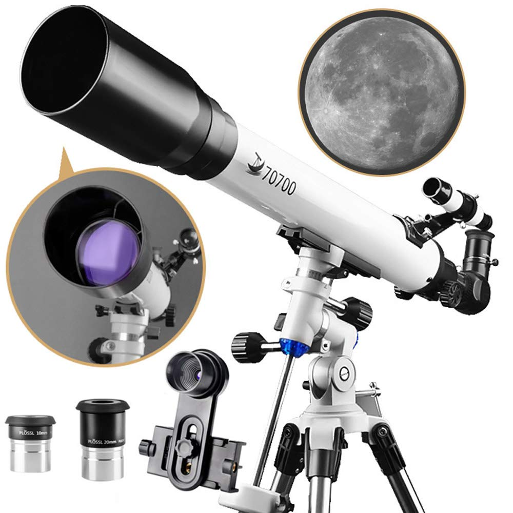 DoubleSun Telescope with Equatorial Mount-Refractor Scope 70mm Aperture and 700mm Focal Length for Student Kids Beginners Adults-with Smartphone Adapter and 2 PLOSSL Eyepieces