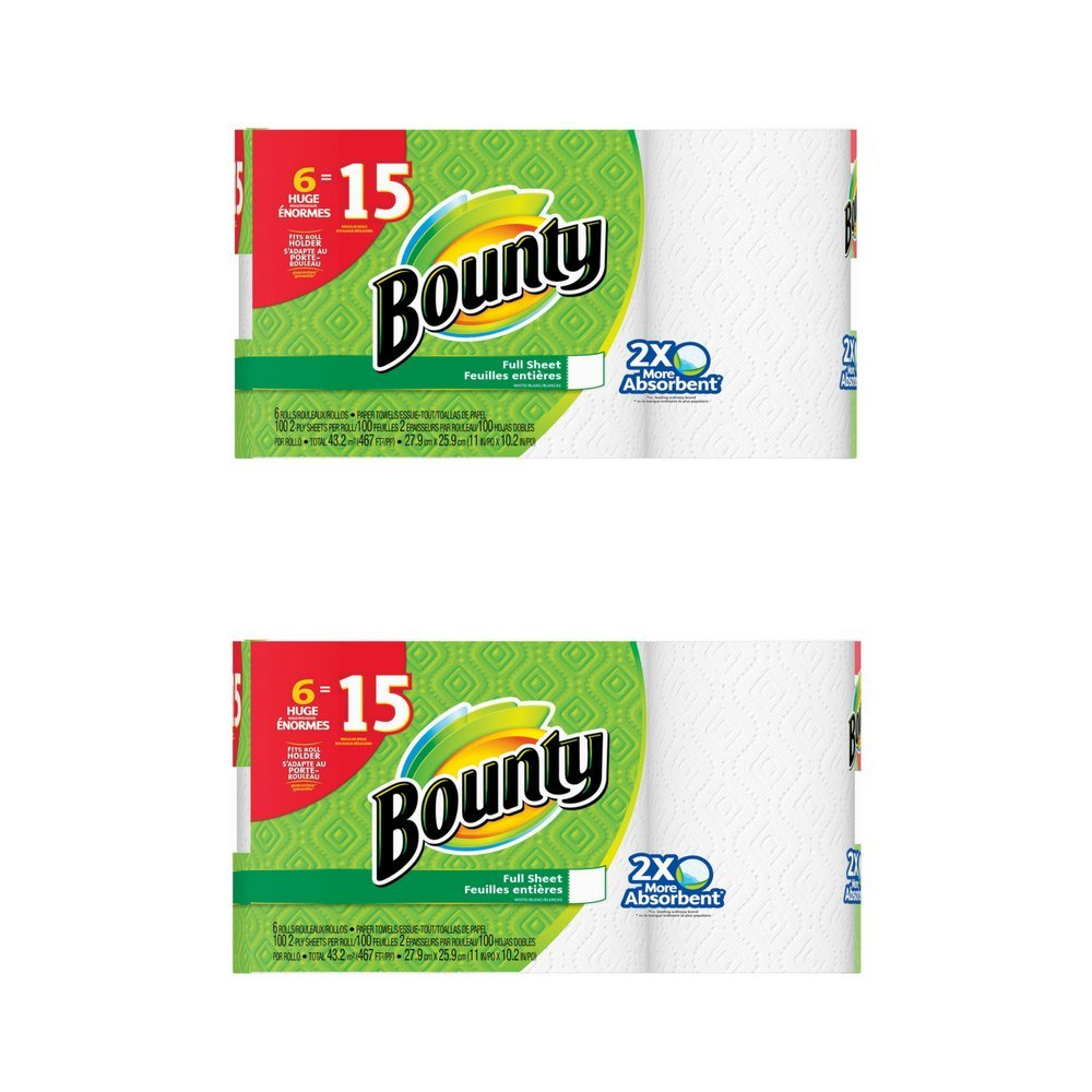 Amazon.com: Bounty Paper Towels, White, 6 Huge Rolls, 2pack: Health & Personal Care