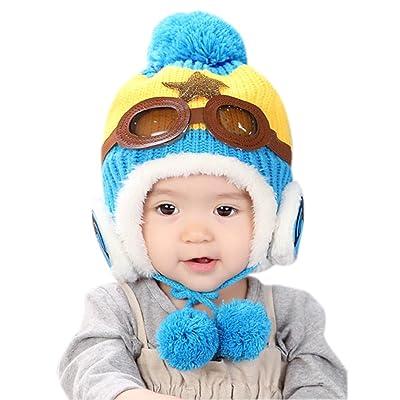 7074085f1942cb (6-24months)Baby Girls Boys Winter Earflap Hat Warm Lined Pilot Aviator Pom