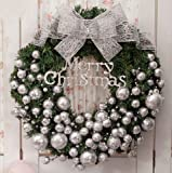 Christmas decorations 30/50/60/80cm Christmas wreath decorations Christmas inn shopping Mall window (50, Silver)