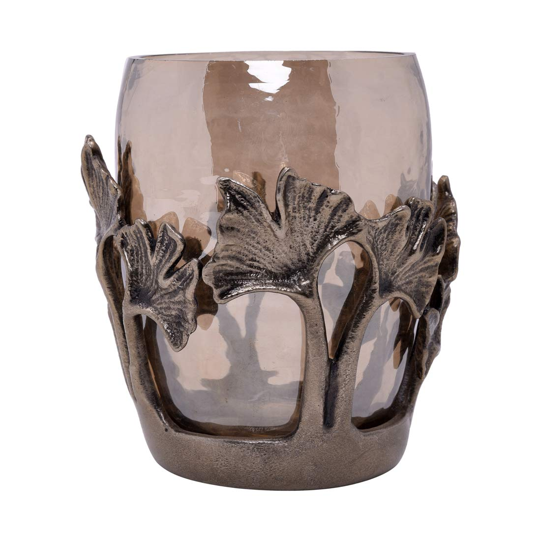 Decozen The Gingko Collection Glass Tumbler in Brown Luster Finish Antique Brass Finished Aluminum Base and Gingko Leaf Branches for Kitchen Bathroom Bedroom Decorative Tumbler by Decozen