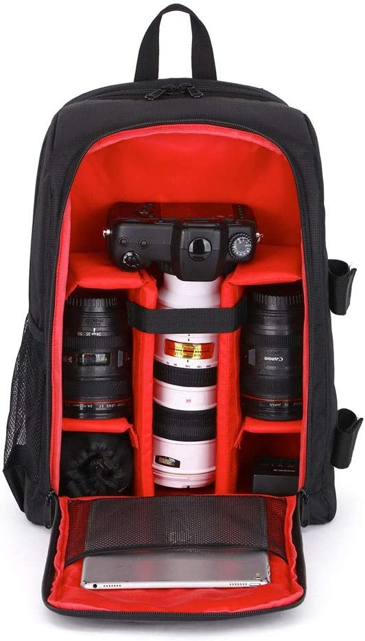 Red Interior 31x18x44cm Camera Backpack Bag with Tripod Holder for DSLR Slivy Camera Case Shockproof Flash or Other Accessories Mirrorless Camera Color : Red