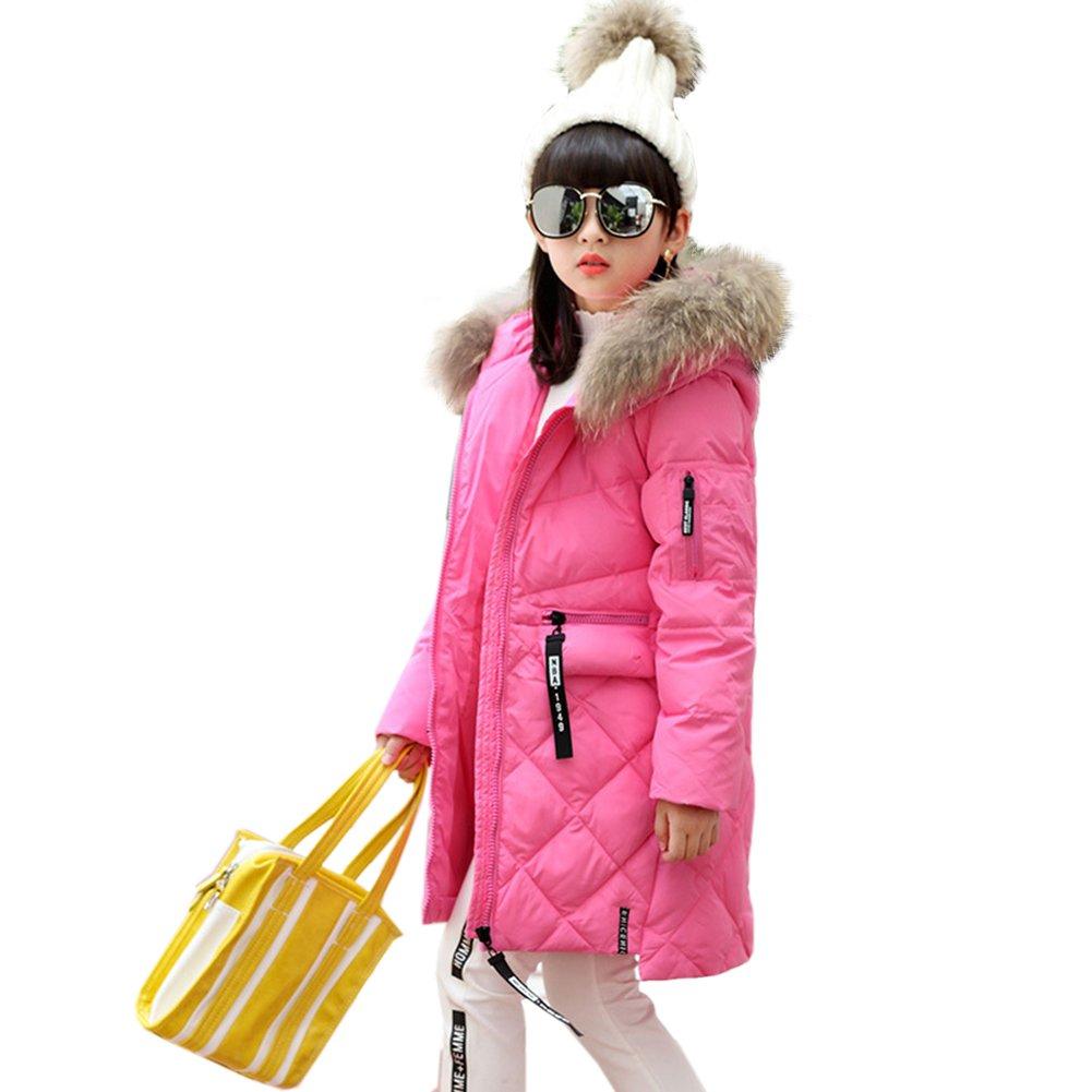 Kidslove Winterjacke Mädchen Winter Kinder Trenchcoat Mädchen Baumwolle Jacke Mantel mit Kaputze Lang Jacke