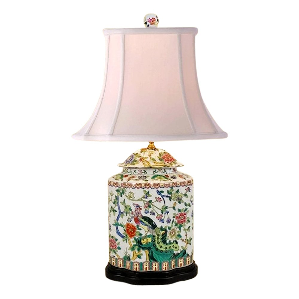 Beautiful Chinese Porcelain Scallop Ginger Jar Table Lamp Bird Floral Motif 27'' by Asian Style Furnishing
