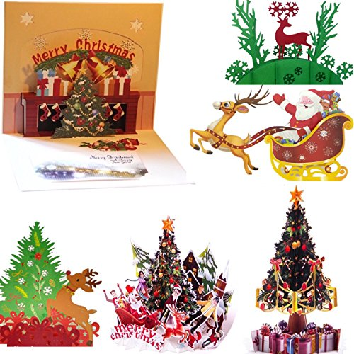 O'Hill 6Pcs 3D Pop Up Colorful Christmas Greeting Cards Merry Christmas Cards & Envelopes