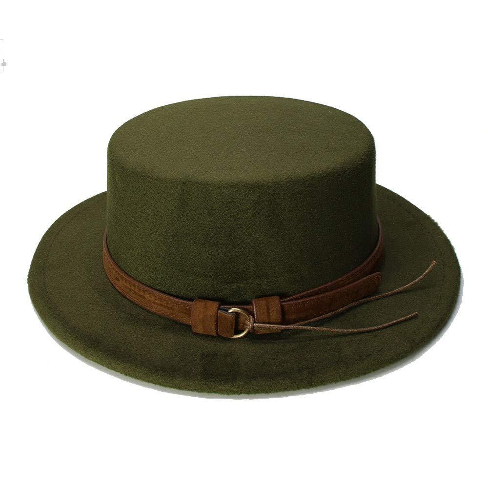 MUMUWU Vintage Wool Wide Brim Cap Pork Pie Porkpie Bowler Hat Solid Coffee Leather Band(54cm/Adjusted) (Color : Green, Size : 54cm) by MUMUWU (Image #1)