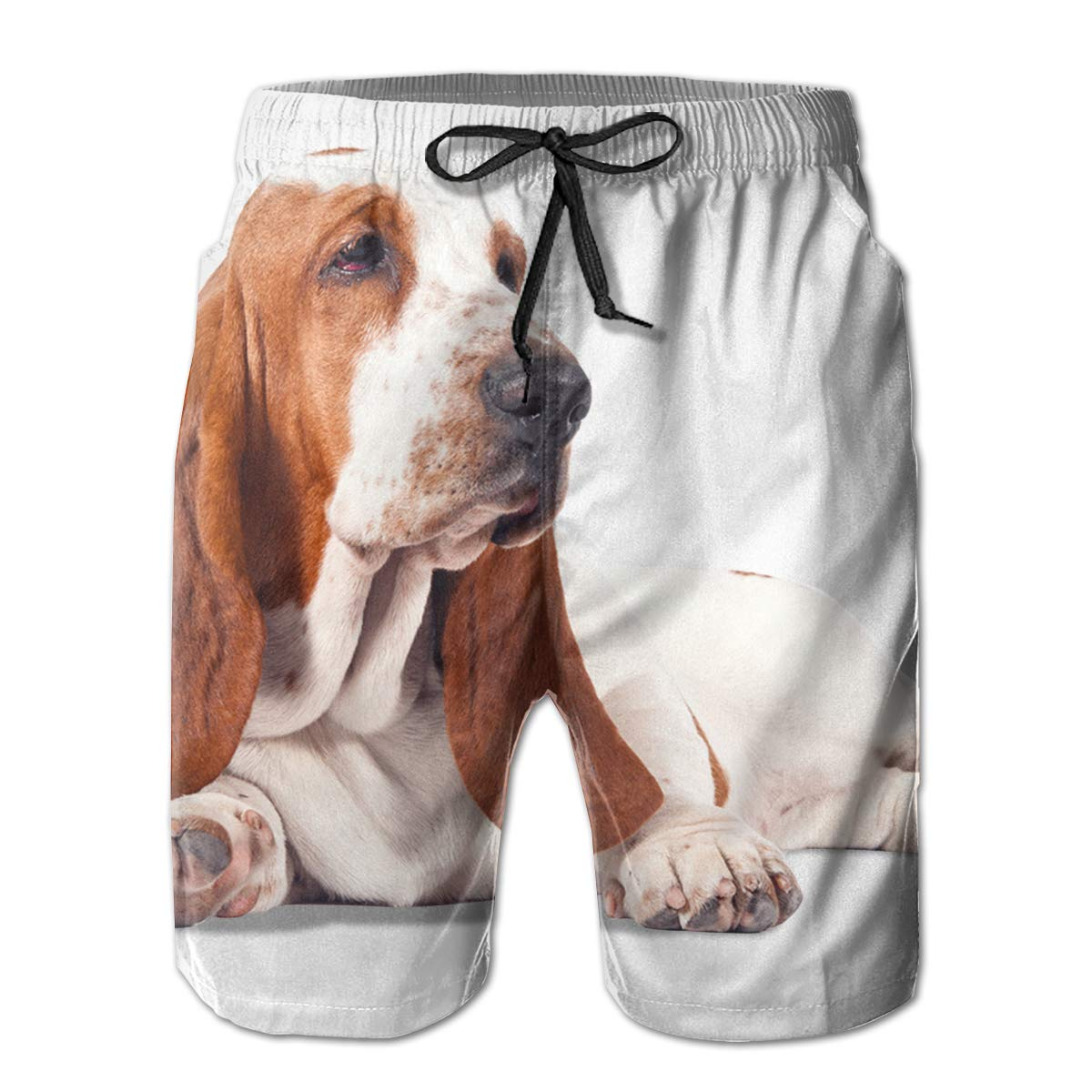 JF-X Basset Hound Dog Mens Summer Beach Surf Board Shorts Quick Dry Swimming Trunks Casual Loose Sleep Short Pants