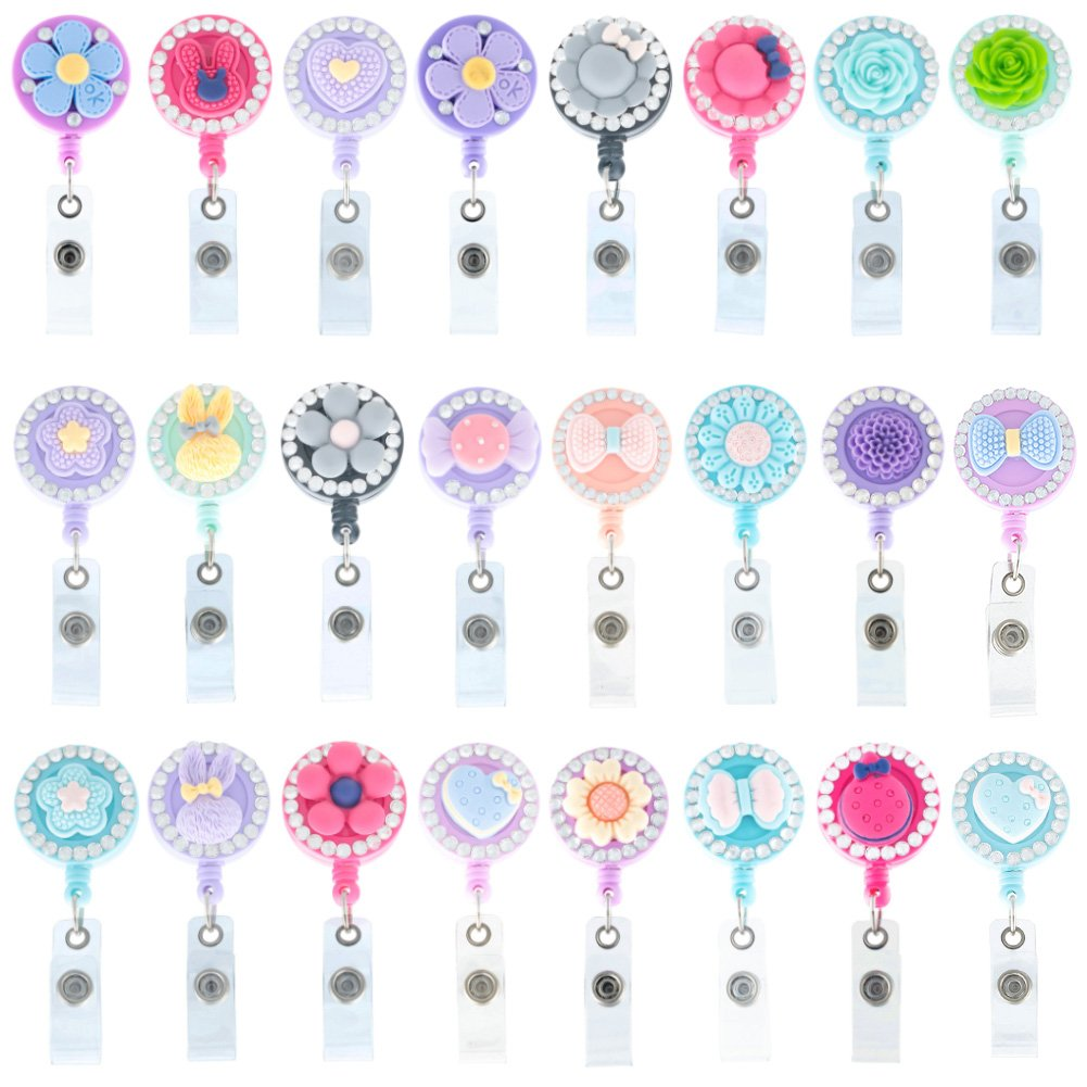 Soleebee 24 inches Retractable Badge Reels, Mixed Random Bling Crystal Nurse ID Badge Holder with 360° Swivel Alligator Clip - 12 Pack by Soleebee