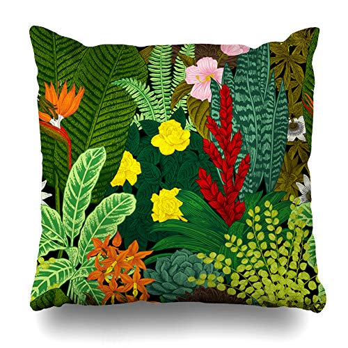 Ahawoso Throw Pillow Cover Old Leaf Vintage Pattern Exotic Flowers Detailed Plants Botanical Classic Agave Succulent Victorian Zippered Pillowcase Square Size 16 x 16 Inches Home Decor Pillow Case