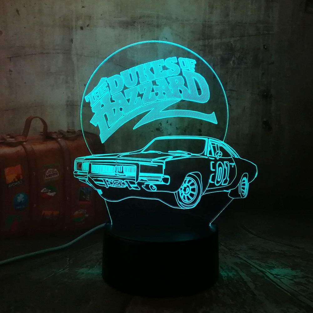 wanmeidp 3D LED Hazzard Car Night Light Mesa Lámpara de Escritorio ...