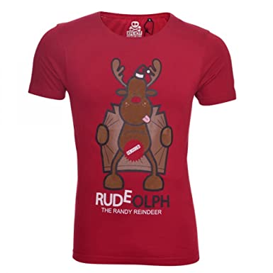 8c272b4c Xplicit Mens Funny Christmas T Shirt Xmas Novelty Festive Reindeer Print  Tees Top Short Sleeved Party Reindeer Rudolph Rude Offensive Small Blood  Red ...