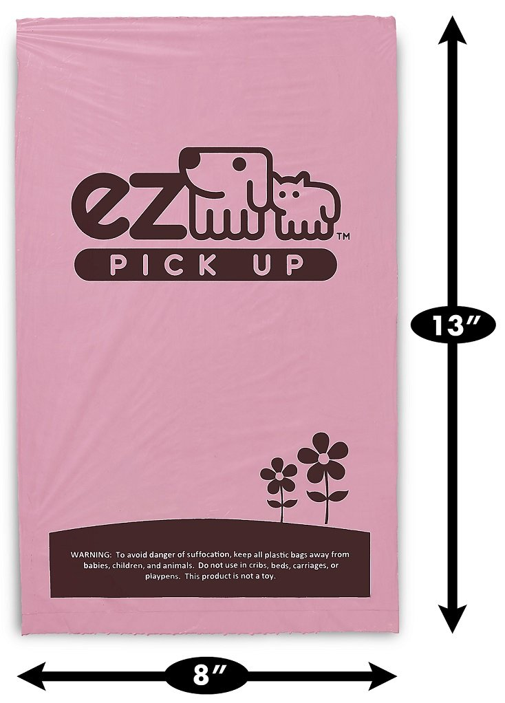 1000 Pet Waste Disposal Dog Poop Bags, EZ Pickup Bags Pink (single roll, not on small rolls)