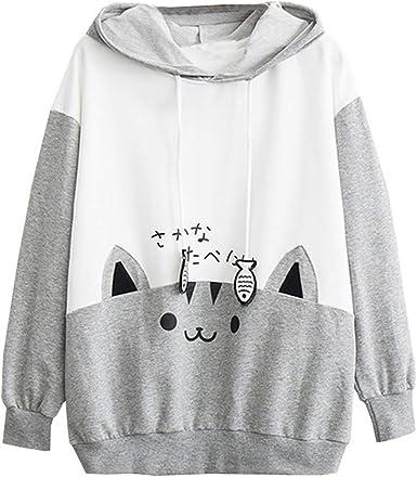 Jersey De Manga Larga para Estampado Ropa Festiva con Mujer De Gatos Sudadera con Capucha Casual para Mujer Sudadera con Capucha Delgada Sudadera Blusas Abrigo: Amazon.es: Ropa y accesorios