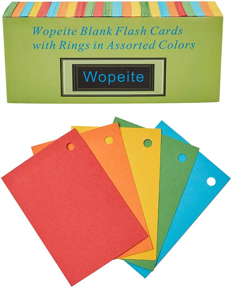 Colored blank flash cards.