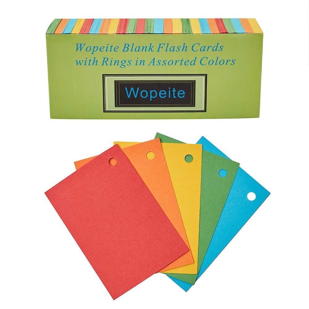 Wopeite Blanko Karteikarten mit 5 Ring Set Lernkarten Flash Card f/ür Unterwegs Vokabel Lernen Bunt 1000 Karteikarten Einlochmontage 7.8 x 5.4cm