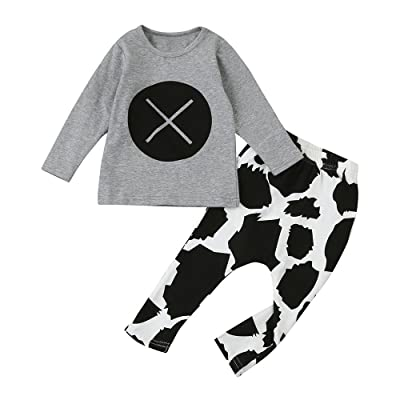 mommy & more 2pcs Toddler Infant Baby Boys Print Clothes Set Tops+Pants Outfits Infant Product
