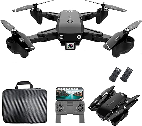 GoolRC CSJ S166 GPS RC Drone with 1080P HD Camera Follow Me Auto Return WiFi FPV Live Video Gesture Photos RC Quadcopter for Adults with 2 Battery and Handbag