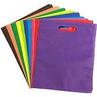 Bolsa de 50 piezas para fiesta con asas, bolsas de regalo reutilizables no tejidas, dulces, comida, ideal para fiestas…