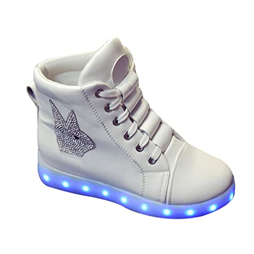 BOOWJESSEA - Zapatillas de Otra Piel para niña, color blanco, talla 35 EU