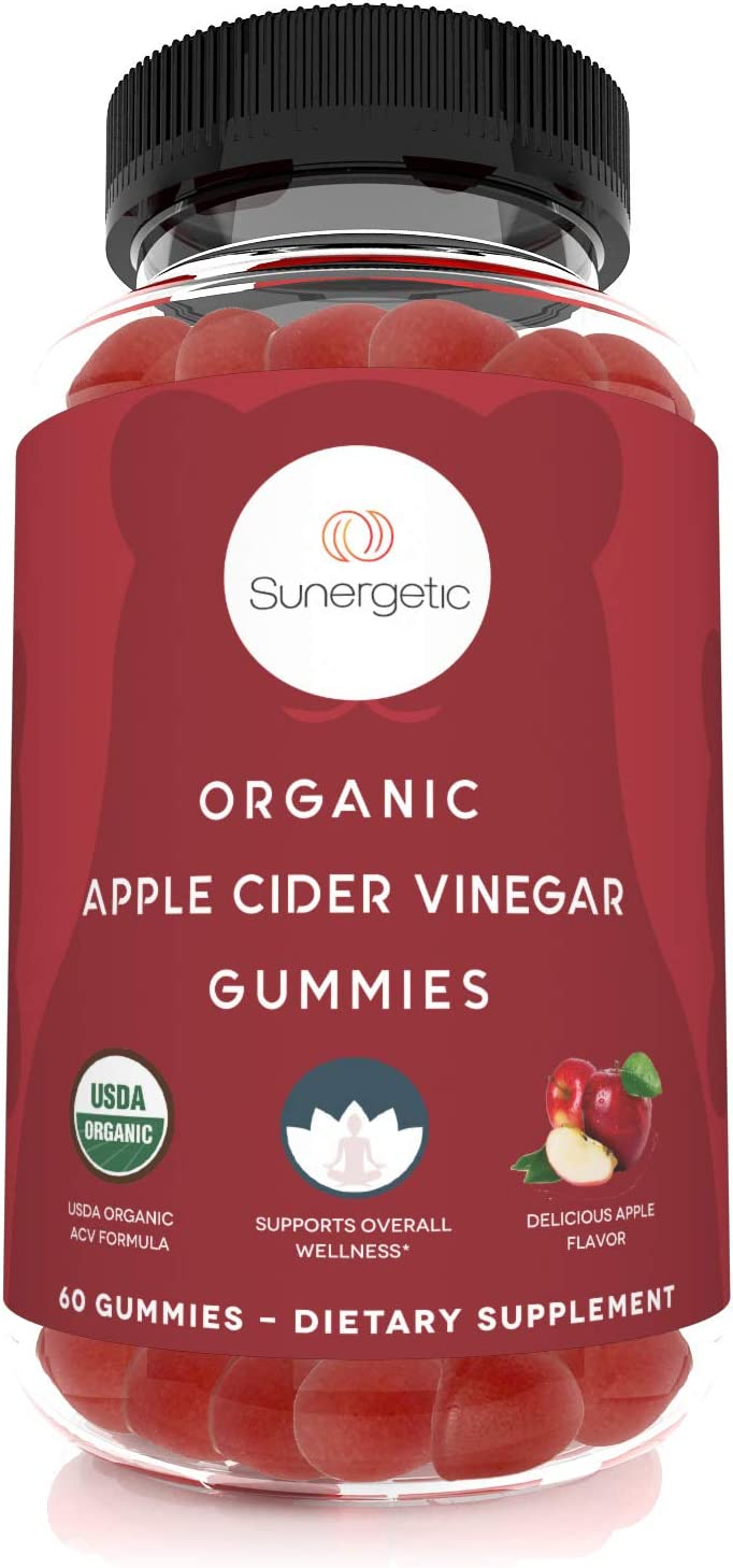 USDA Organic Apple Cider Vinegar Gummies with The Mother – Organic ACV Gummies to Support Overall Wellness – Certified Organic, Non-GMO & Vegan - 60 Apple Cider Vinegar Gummies