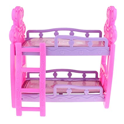 Amazon.com: Prettyia Dollhouse - Cama de doble decoración en ...